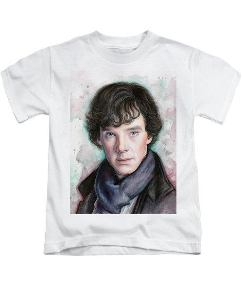 Sherlock Holmes Portrait Benedict Cumberbatch Kids T-Shirt