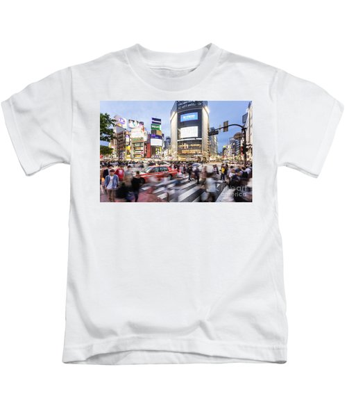 Shibuya Crossing At Night In Tokyo Kids T-Shirt