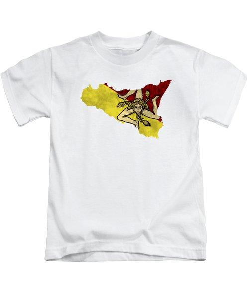 Sicily Map Art With Flag Design Kids T-Shirt