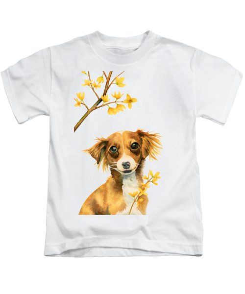 Signs Of Spring - Cute Dog With Forsythia Watercolor Painting Kids T-Shirt