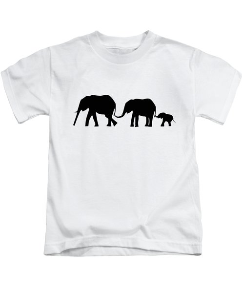 Silhouettes Of 3 Elephants Holding Tails  Kids T-Shirt