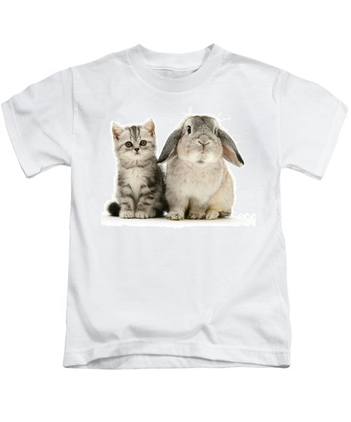 Silver Tabby And Rabby Kids T-Shirt
