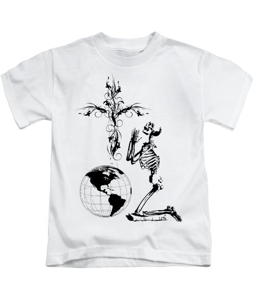 Skeleton Pryaing Cross Globe Kids T-Shirt