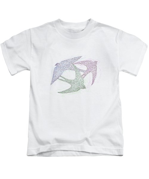 Sketch Of Swallow Birds Design In Motion Symbolism Of Freedom And Unity Kids T-Shirt