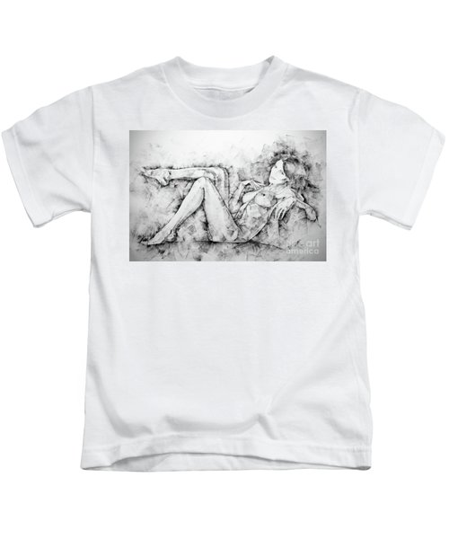 Sketchbook Page 46 Drawing Woman Classical Sitting Pose Kids T-Shirt