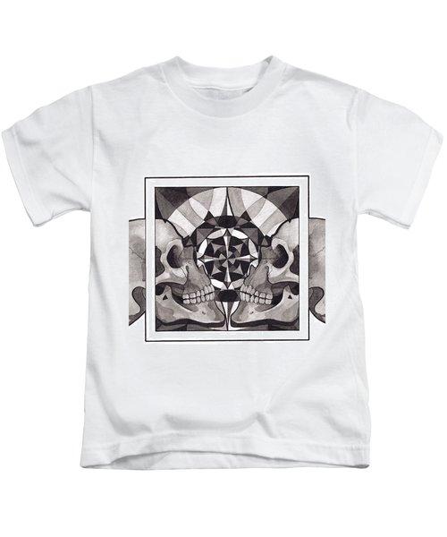 Skull Mandala Series Nr 1 Kids T-Shirt by Deadcharming Art