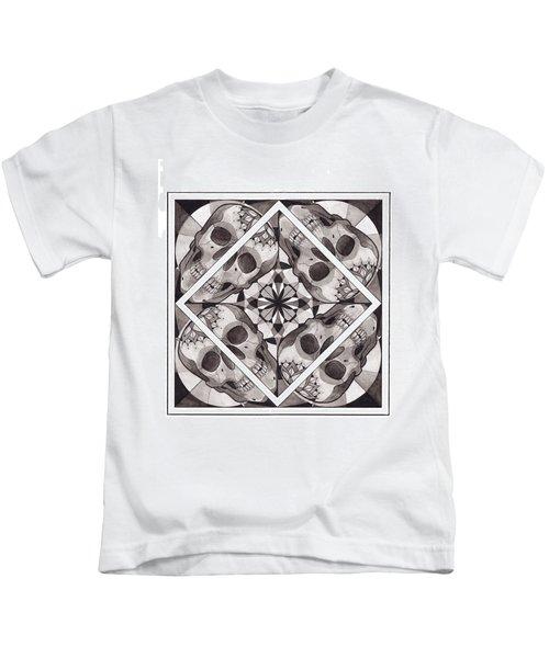 Skull Mandala Series Number Two Kids T-Shirt by Deadcharming Art