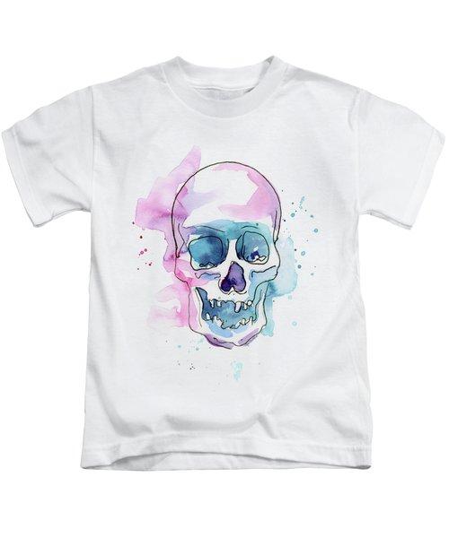Skull Watercolor Abstract Kids T-Shirt