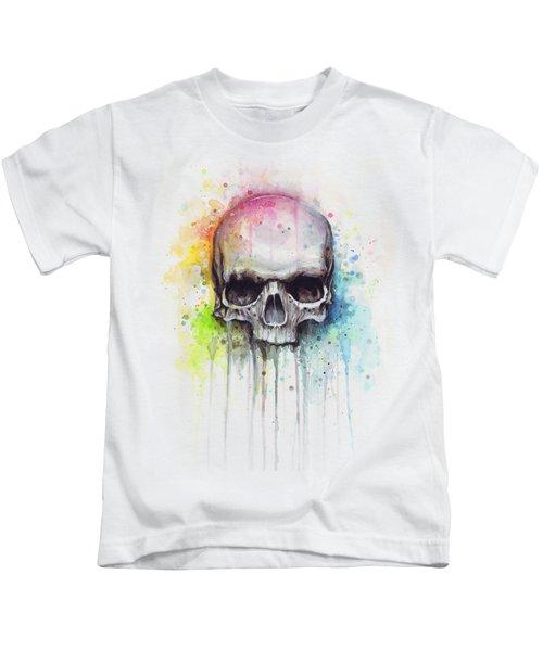 Skull Watercolor Painting Kids T-Shirt by Olga Shvartsur