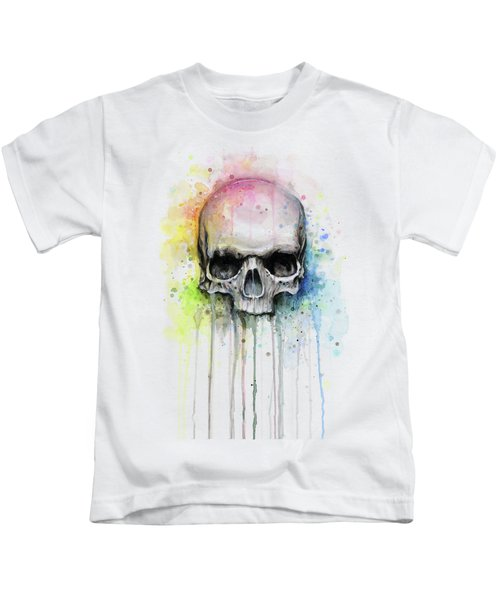 Skull Watercolor Rainbow Kids T-Shirt