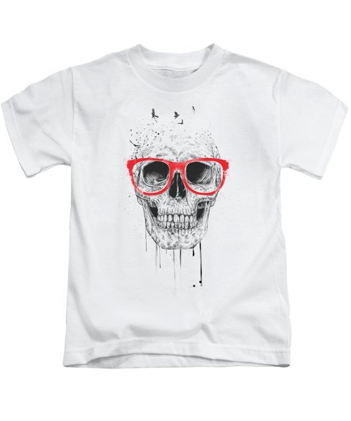 Skull With Red Glasses Kids T-Shirt by Balazs Solti