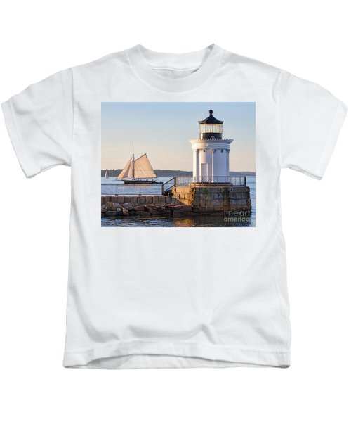 Sloop And Lighthouse, South Portland, Maine  -56170 Kids T-Shirt
