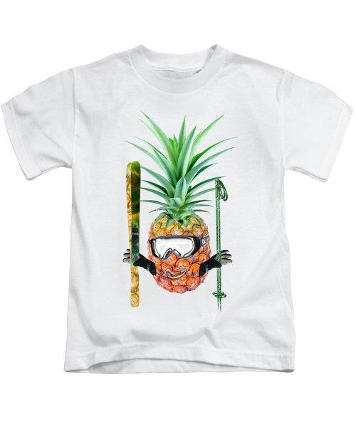 Smiling Pineapple-downhill Skier Kids T-Shirt by Elena Nikolaeva