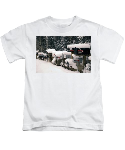 Snow Covered Mailboxes Kids T-Shirt