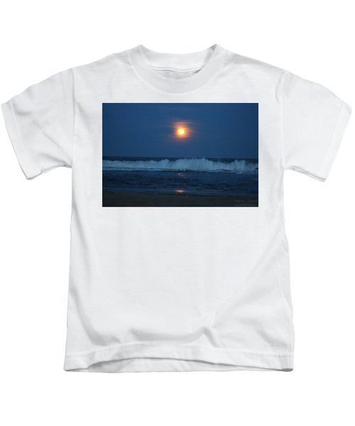 Snow Moon Ocean Waves Kids T-Shirt