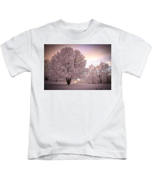 Snow Tree At Dusk Kids T-Shirt