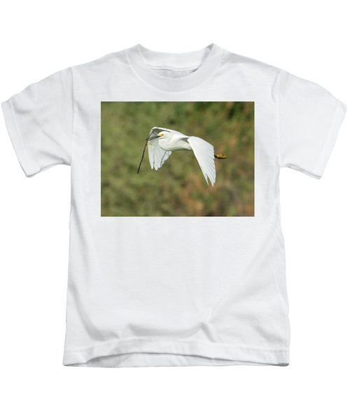 Snowy Egret 4786-091017-1cr Kids T-Shirt