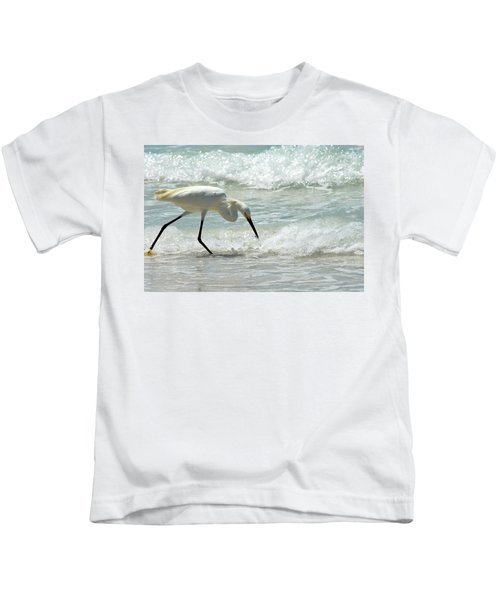 Snowy Egret 6265 Lido Beach Kids T-Shirt