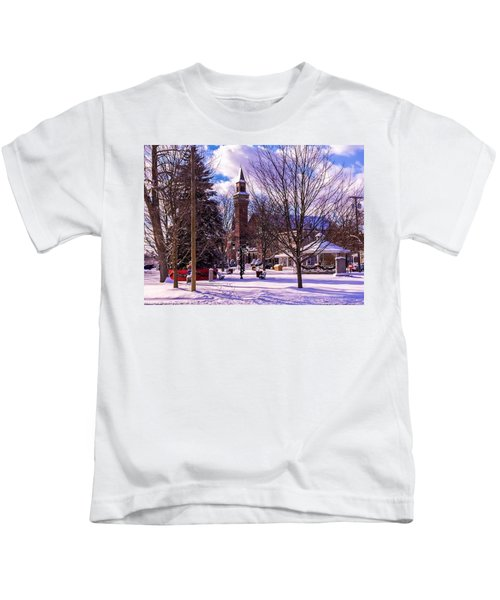 Snowy Old Town Hall Kids T-Shirt
