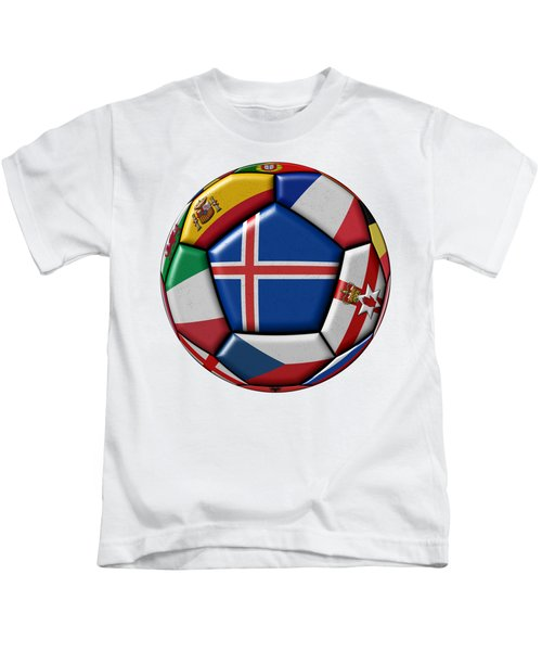 Soccer Ball With Flag Of Iceland In The Center Kids T-Shirt