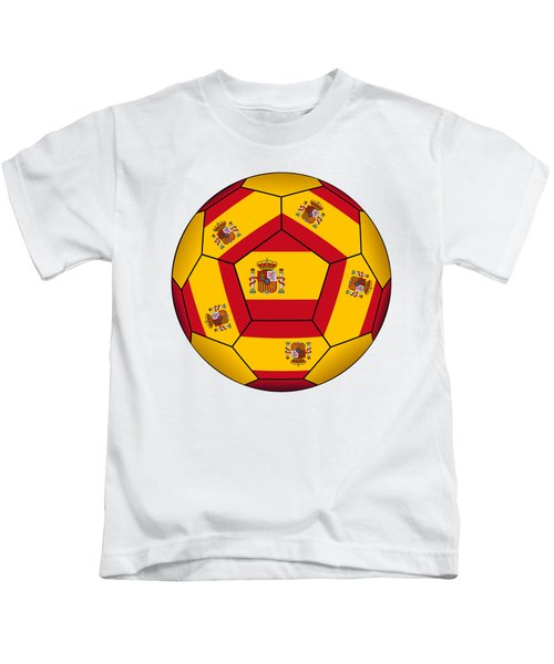 Soccer Ball With Spanish Flag Kids T-Shirt