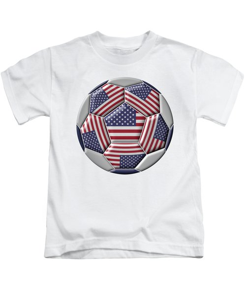 Soccer Ball With United States Flag Kids T-Shirt