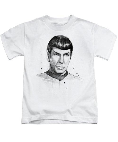Spock Watercolor Portrait Kids T-Shirt