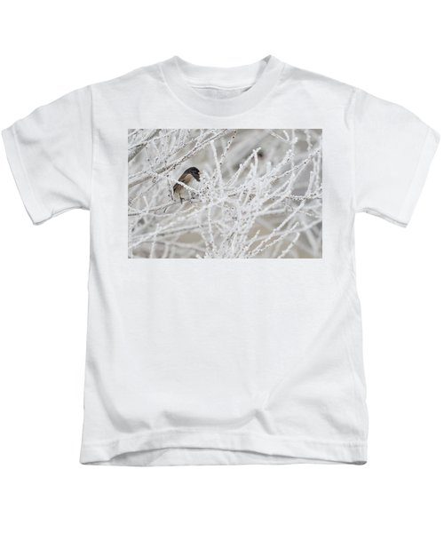 Spotted Towhee In Winter Kids T-Shirt
