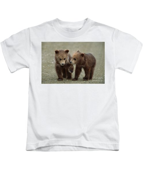 Spring Grizzly Cubs In Denali Kids T-Shirt