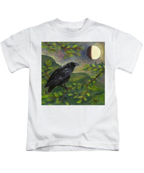 Spring Moon Raven Kids T-Shirt