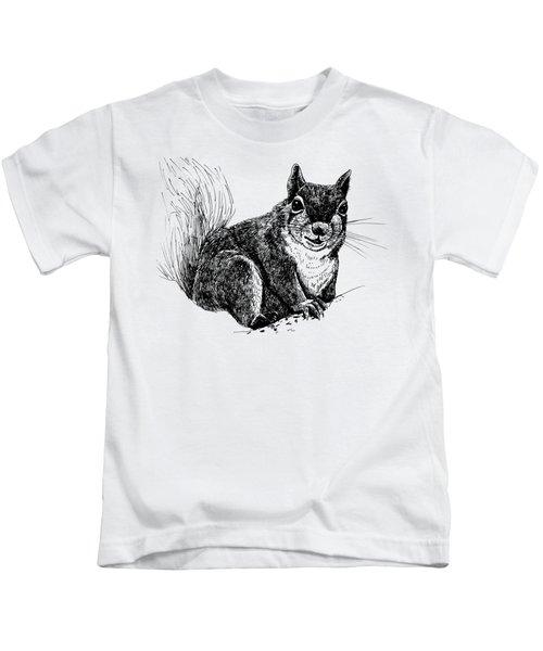 Squirrel Drawing Kids T-Shirt by Katerina Kirilova
