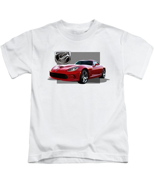S R T  Viper With  3 D  Badge  Kids T-Shirt by Serge Averbukh