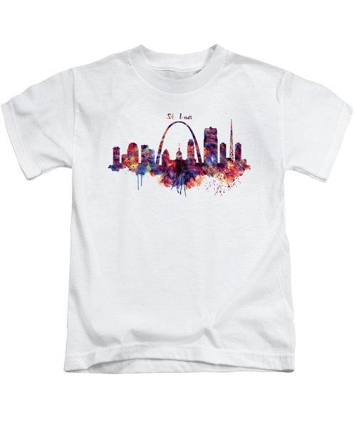 St Louis Skyline Kids T-Shirt by Marian Voicu