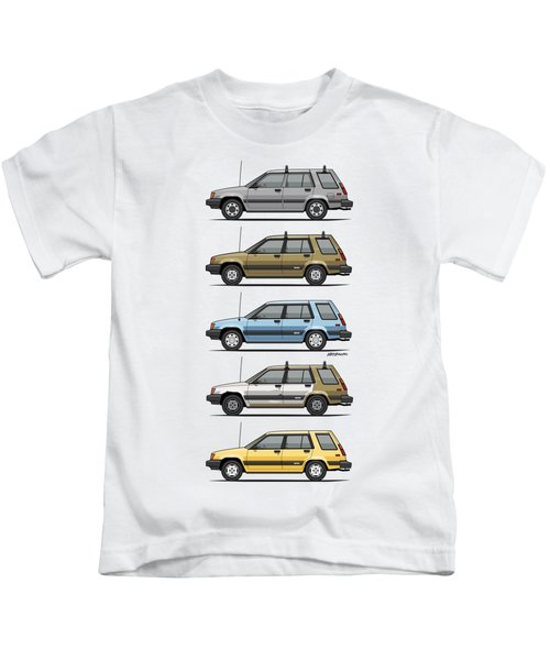 Stack Of Mark's Toyota Tercel Al25 Wagons Kids T-Shirt
