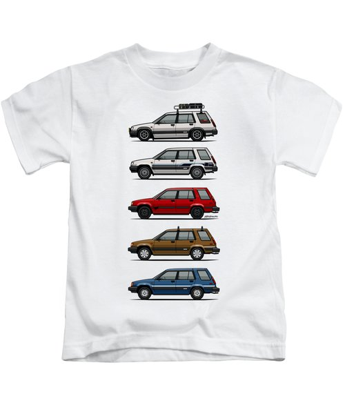 Stack Of Toyota Tercel Sr5 4wd Al25 Wagons Kids T-Shirt by Monkey Crisis On Mars