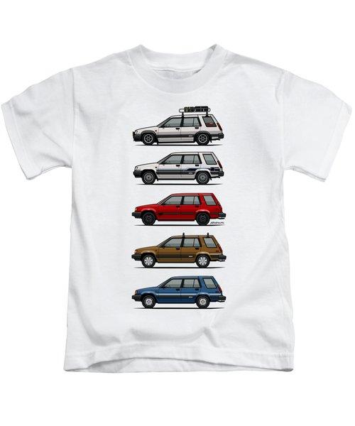Stack Of Toyota Tercel Sr5 4wd Al25 Wagons Kids T-Shirt