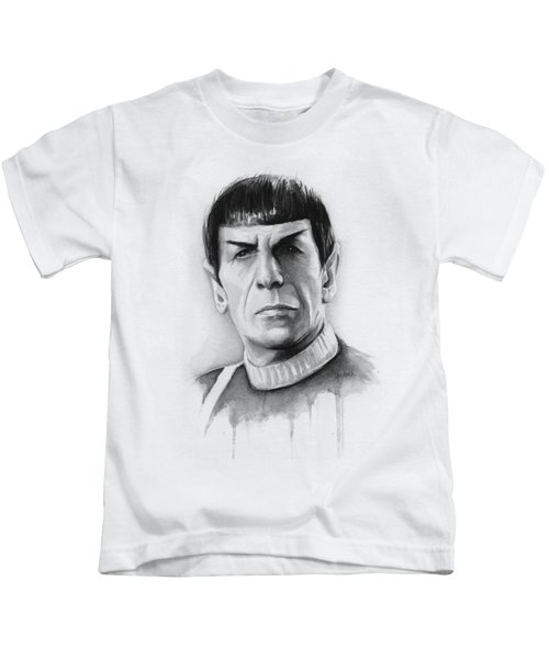 Star Trek Spock Portrait Kids T-Shirt by Olga Shvartsur