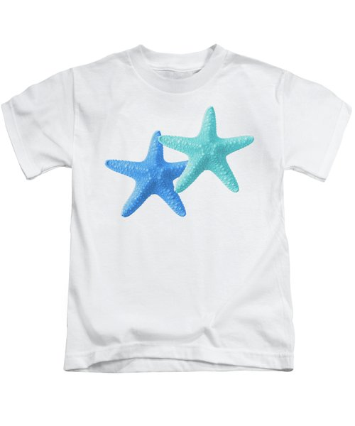 Starfish Blue And Turquoise On White Kids T-Shirt