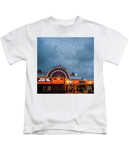Starlings Over The Neon Lights Of Aberystwyth Pier Kids T-Shirt