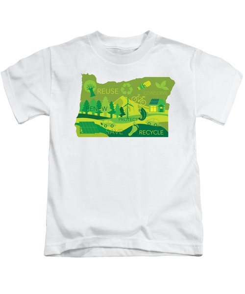 State Of Oregon Map Environment Eco Outline Kids T-Shirt