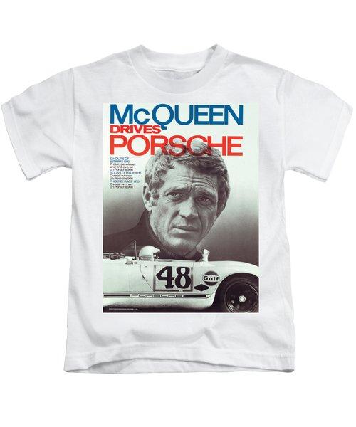 Steve Mcqueen Drives Porsche Kids T-Shirt