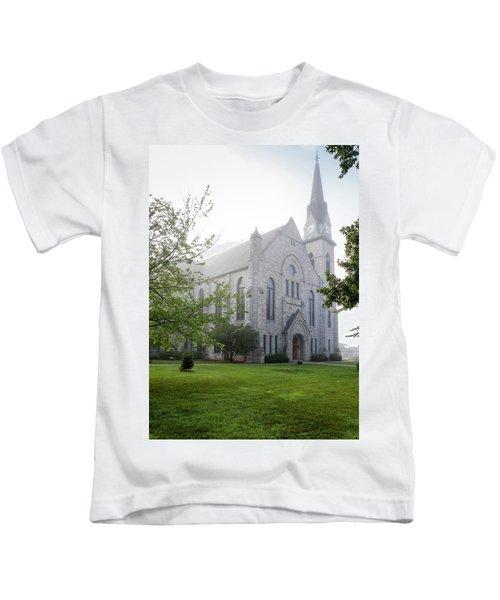 Stone Chapel In Fog Kids T-Shirt