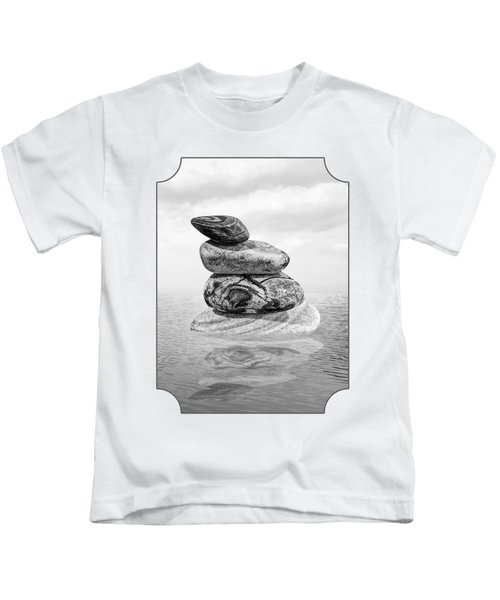 Stones In Water Black And White Kids T-Shirt