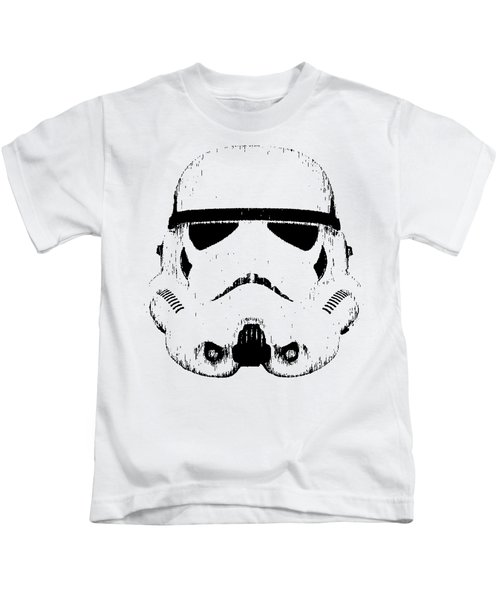 Kids T-Shirt featuring the digital art Stormtrooper Helmet Star Wars Tee Black Ink by Edward Fielding