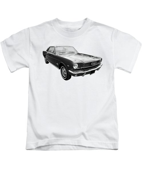 Stunning 1966 Mustang In Black And White Kids T-Shirt
