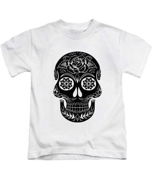 Sugar Skull Day Of The Dead Black Ink Kids T-Shirt