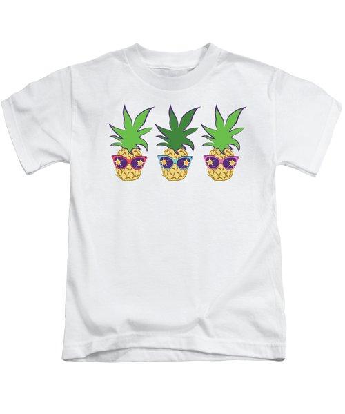 Summer Pineapples Wearing Retro Sunglasses Kids T-Shirt