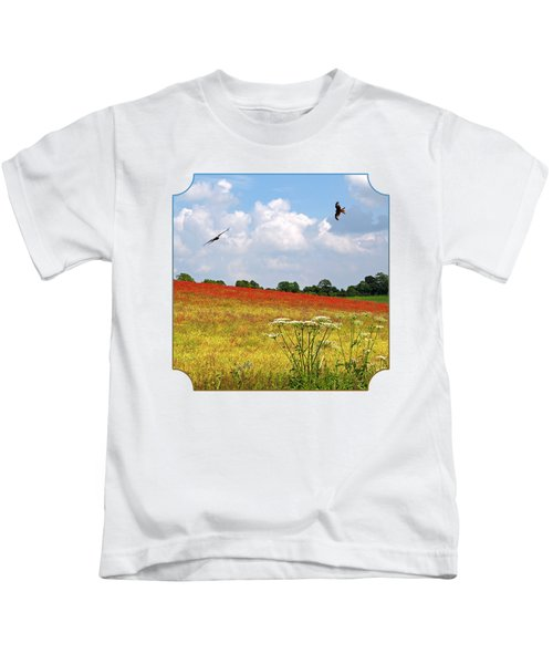 Summer Spectacular - Red Kites Over Poppy Fields - Square Kids T-Shirt