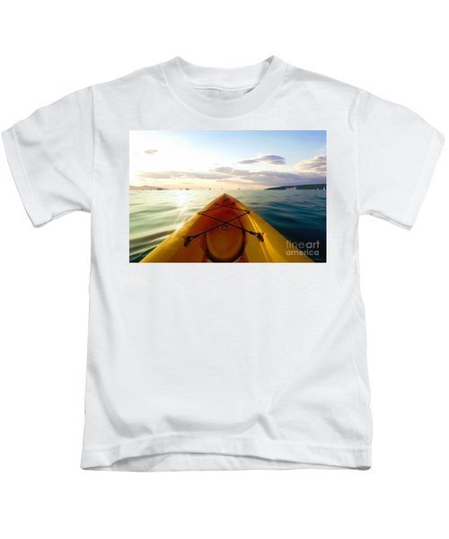 Sunrise Seascape Kayak Adventure Kids T-Shirt