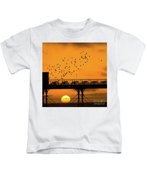 Sunset And Starlings In Aberystwyth Wales Kids T-Shirt